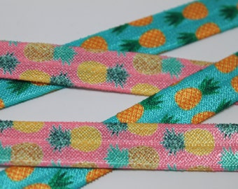 Pineapple FOE 5/8 -Fold Over Elastic 5/8 inch by the yard...Print FOE, Headbands, Hair Ties and More!