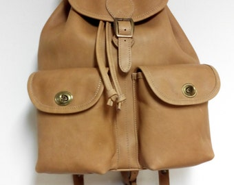 two pockets leather backpack
