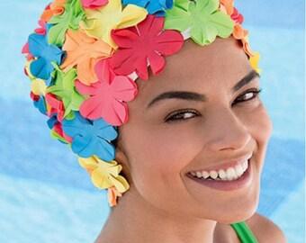 Retro Style Swim Cap - Fashy Swimming Hat - Multi-Coloured Petal Swim Cap - Vintage Style Petal Swim Cap