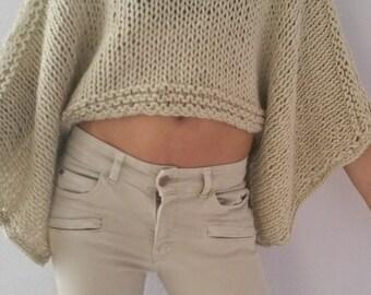 Cropped sweater Beige sweater handknit sweater