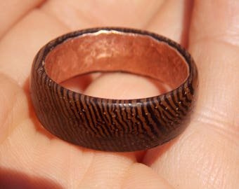 Men's Wenge wood ring with copper size 12