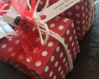 Red wedding favors red polka dot boxes, clear boxes for graduation/custom handmade with confetti for graduation