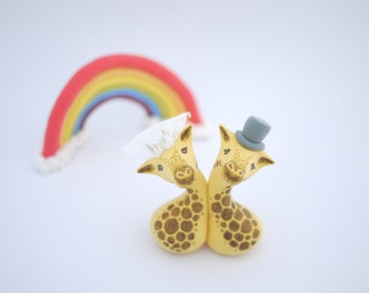 Giraffe Wedding Cake Topper (With or Without Rainbow)