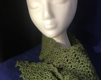 Hand Crocheted Green Scarflette