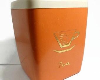 Tea Caddy Tea Canister Retro Kitchenware Vintage Kitchen Storage Burnt Orange Plastic Container Mid Century Modern Storage Container Tea Box