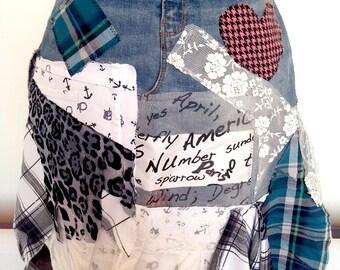 Crazy denim skirt/altered jeans/Denim collage skirt/patchwork skirt/Hippie skirt/half apron/boho apron/gypsy skirt. Steampunk skirt/tattered