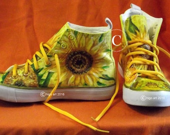 Higo Gogh Sneakers Hand Painted Yellow