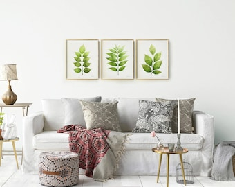 living room prints. Botanical print Set of 3 wall art  Printable Leaves Gallery collection Living room Etsy