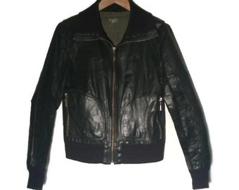 Vintage 70s leather jacket black xS s VINTAGE 1970s LEATHERJACKET Aviator MC Jacket Slim FIt Jacket Size 36-38