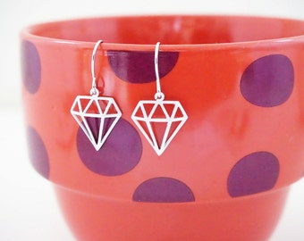 Matte Silver Geometric Diamond Earrings
