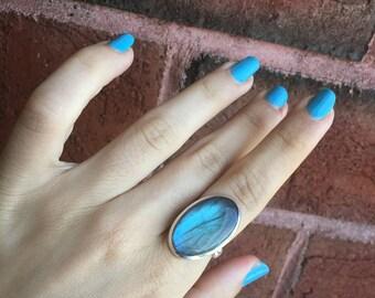 925 Sterling Silver Labradorite Gemstone Ring Size 7 Reiki Healing Chakra Jewelry