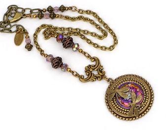 Art Nouveau Dragonfly Necklace, Victorian Art Nouveau Necklace, Czech Glass Button Jewelry, Dragonfly Jewelry, Art Nouveau Victorian Jewelry