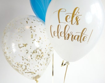 Blue + Gold Balloon Trio | Gold Confetti Balloon | Blue Marble Balloon | Calligraphy Balloon