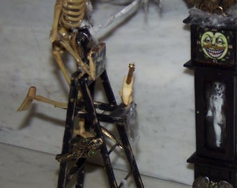 Halloween 1:12th Dollhouse Skeleton on a Ladder Hanging Cobwebs.  Decorating for the Holidays!
