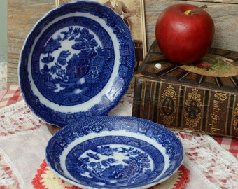 ANTIQUE BLUE WILLOW: Flow Blue Willow Saucers made by Allerton's