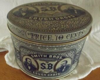 Vintage Smith Bros Cough Drops Collectible Tin, lozenges tin, Collectible Tin, Smith bros, storage tin
