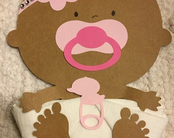 African American Baby Girl Baby Shower Napkins with a Headband and bling