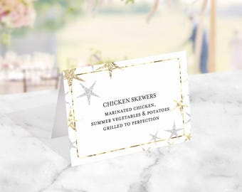 Twinkle Twinkle Buffet Food Labels Printable, Tent Labels, Editable Labels, Little Star Baby Shower, Place Card Printable, Instant Download