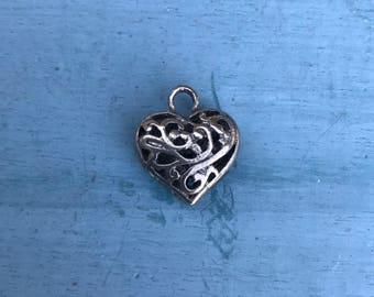 1980's Sterling Silver Heart Pendant Charm, 5g
