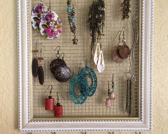Earring Organizer - Jewelry Organizer - Jewelry Storage - Necklace Organizer - Earring Storage - Headband Organizer - Jewelry Frame - Frame