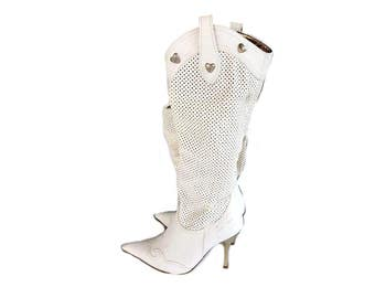 90s 00s White Pointy Boots with Silver Heart Studs