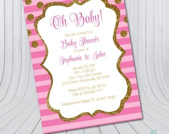 Baby Shower Invitation – Gold Pink Glitter {Digital FIle} Oh Baby | Girl Baby Shower