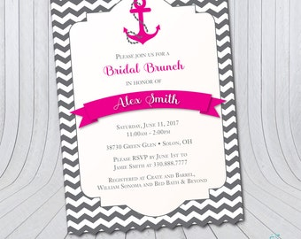 Anchor Bridal Shower Invitation | Nautical | Bridal Brunch {Digital File}