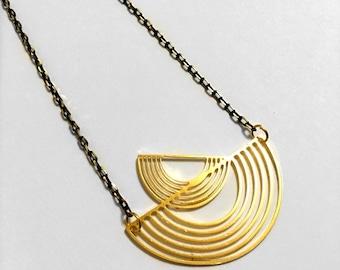 Half Moon Necklace, Half Circle Necklace Semicircle, Modern Minimal Geometric, signature necklace, dainty necklace, Gold & Black, 16K gold,