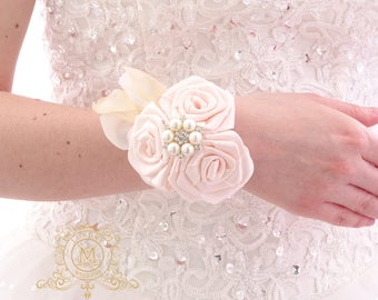 Custom Bridesmaids corsages blush pink, ivory, pearl brooch silver on the white ivory champagne satin flower by Memory Wedding