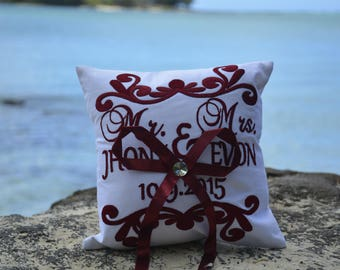 Ring Bearer Pillow 30% OFF Mr. and Mrs. Wedding Ring Pillow Embroidered Monogram Custom Personalize Ring Bearer Pillow All Colors