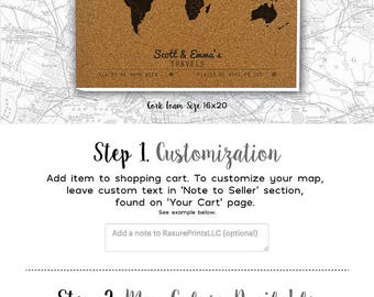 Customized Map, Gift for Traveling Friend, Best Travel Gift for Men and Women, Cork Foam Push Pin Travel Map - 16x20 - Customized