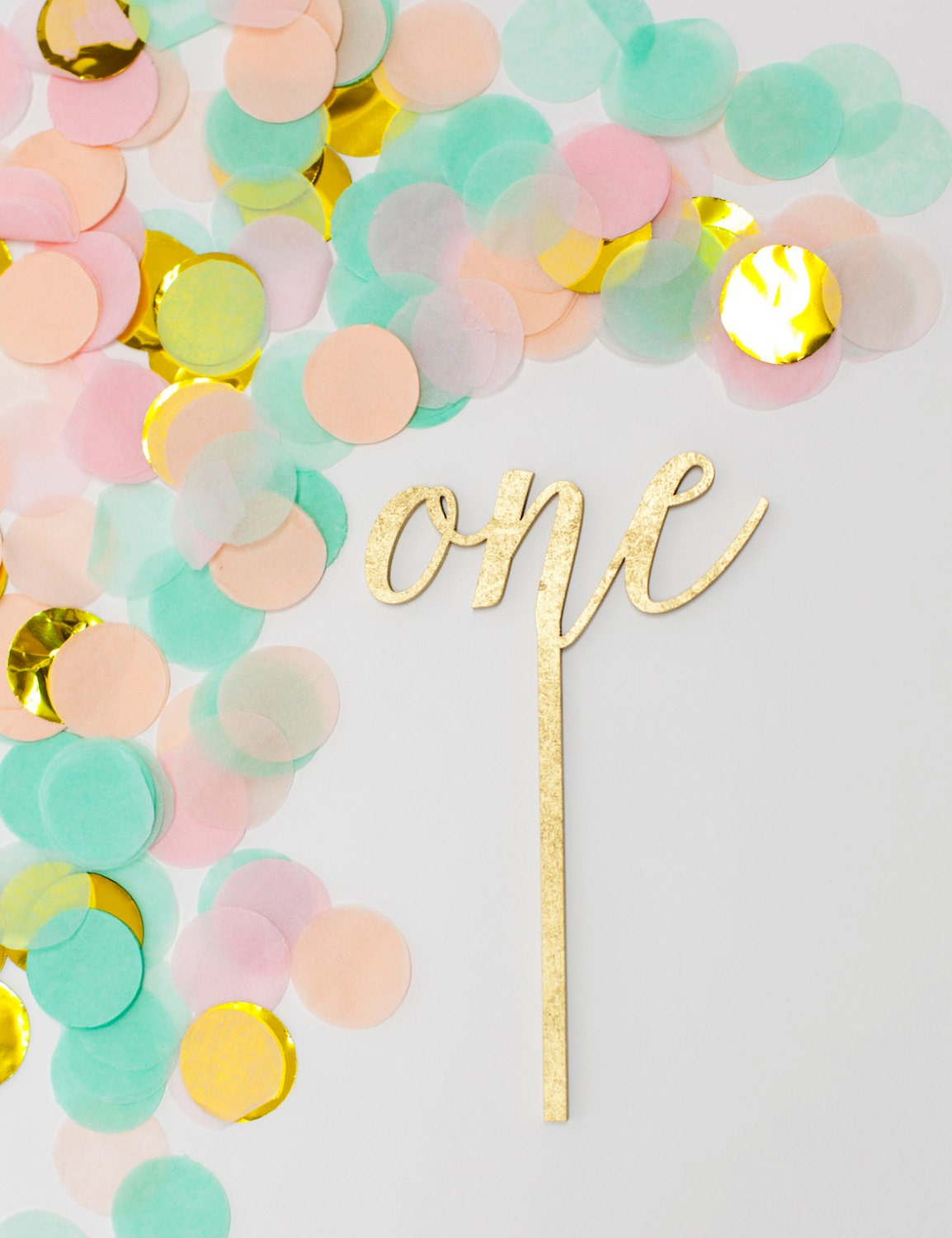 One Cake Topper One Gold Cake Topper One Wood Cake Topper