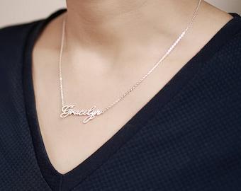 Script Name Necklace • Custom Name Jewelry • Sterling Silver Name Necklace • Gold Necklace With Name • Bridesmaid Jewelry CNN02