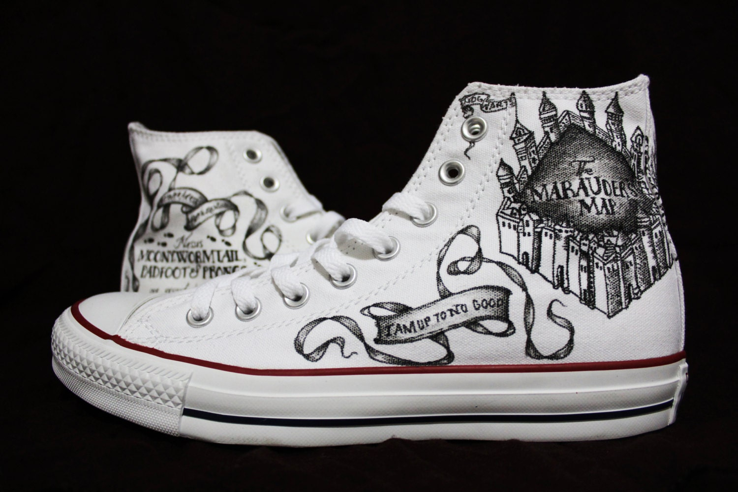 Converse Marauders Map Harry Potter Shoes By Embeditarts