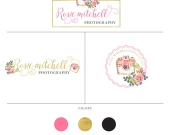 Photography Branding Package  Camera logo with Rose  Custom logo  Branding material for photographers