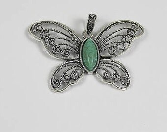 Butterfly Pendant, Large Butterfly Pendant, Filigree Design with Turquoise inset