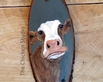 Cow Ornament, Christmas Ornament, Christmas Tree, Farm animal ornament, Cows, Wood Slice, Wood Ornament, Gift, Original