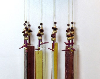 Windchime, Stained Glass - Cranberry - Gold - Porch décor, CR1001