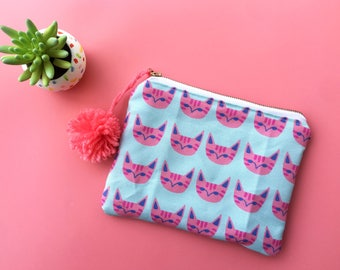 Pink Cats zipper pouch | animal fabric bag | blue handbag, cosmetic bag | travel zipper pouch | gift for her | gift for teen | travel wallet