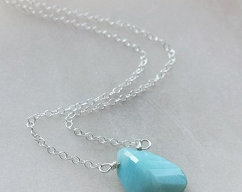Larimar Necklace, Sterling Silver Larimar Necklace, Minimalist Jewelry, Small Necklace
