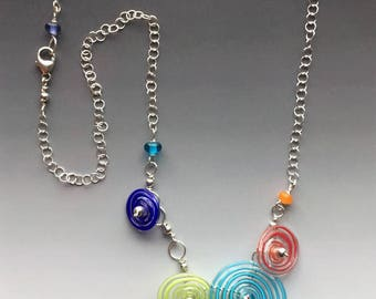 Peppermint Necklace in Bright Colors Clustered: handmade glass lampwork beads with sterling silver
