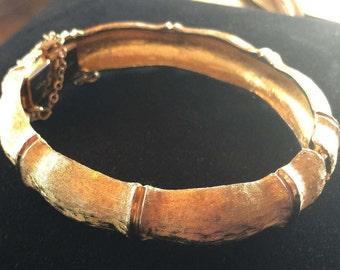 Vintage 1950's Napier Gold Bamboo Bangle Bracelet