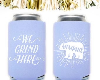 Baby Blue Memphis Can Cooler Neoprene Can Coolers // Bear Grizzlies Grizzly Basketball We Grind Here