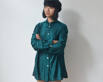 SHINY GREEN SHIRT -sheer, transparent, sexy, 90s, 80s, party, club kid, aesthetic, vetements, cyber, gothic, grunge, long sleeve, emerald-
