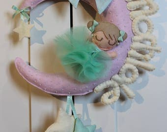 "Stitchable baby ""Moon with ballerina"" in pastel"