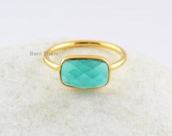 Teal Quartz Ring-Rectangle 7x11 mm-Gemstone Ring-Sterling Silver Ring-Ring for Women