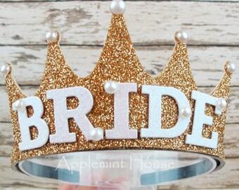 Bride Crown,Bachelorette Party Bride Crown, Bride Headband,Bride,Bride Gold Crown,Bridal Crown,Bachelorette Crown