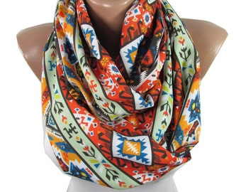 Clothing Gift Tribal Scarf Infinity Scarf Aztec Scarf Southwestern Winter Scarf Accessories Holiday Christmas Gift For Her For Women For Mom