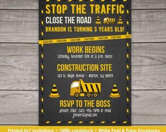 Construction Birthday Invitation for a Boy - Construction Themed Birthday Invitation - Truck Invitation Birthday-131