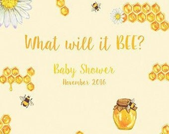 What Will It BEE Custom Backdrop Gender Reveal Banner Sign Baby Shower Party Step Repeat Photo